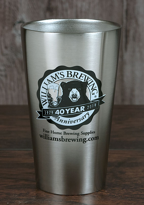 William's 40th Anniversary Stainless Glass (sold out)
