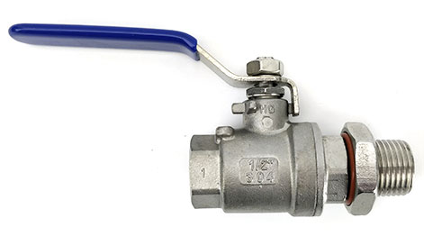 """1/2""""  Stainless Valve With Bulkhead"""