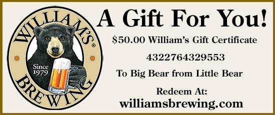 $25.00 William's Gift Certificate