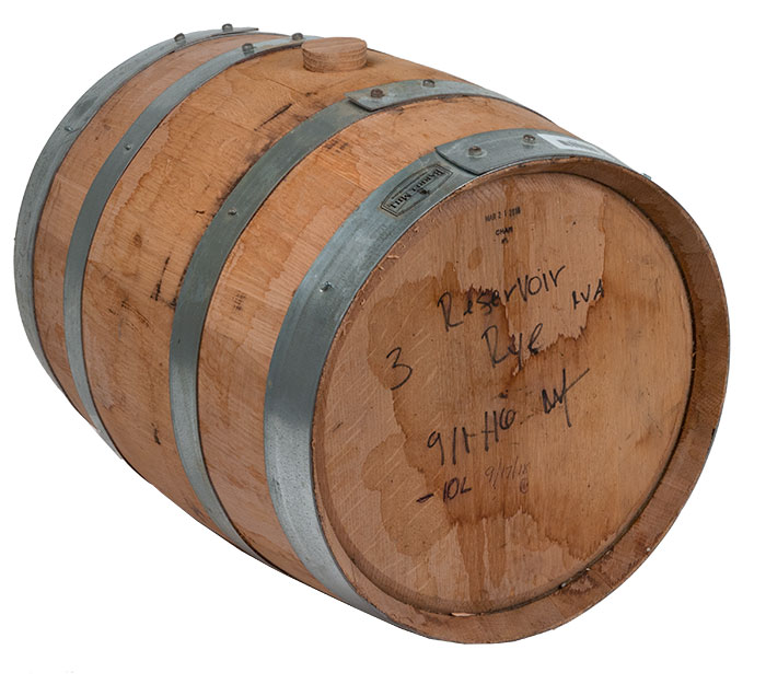 Drained 5 Gallon Reservoir Rye Whiskey Barrel