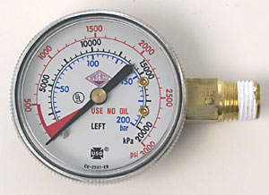 0-3000 PSI Left Hand Thread Gauge