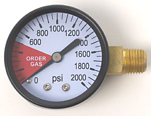 0-2000 PSI Right Hand Thread Gauge