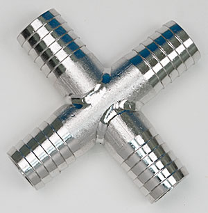 "½"" Stainless Hose Barb Cross"
