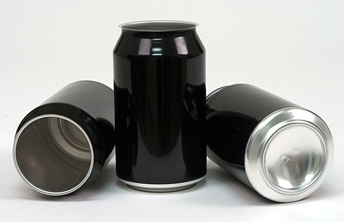 330 ml Black Aluminum Cans & Lids (case of 300)